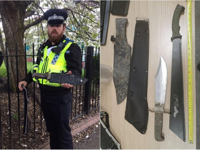 Police found these knives during a weapons sweep in Leeds.