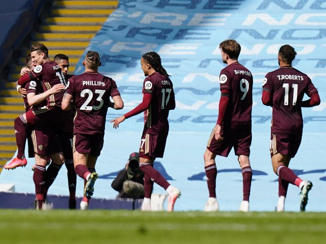 Leeds United celebrate at Manchester City. Pic: Getty