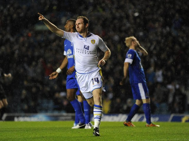 Aidy Whie celebrates scoring against Everton in the third round of the Carling Cup in September 2012. PIC: Varley Picture Agency