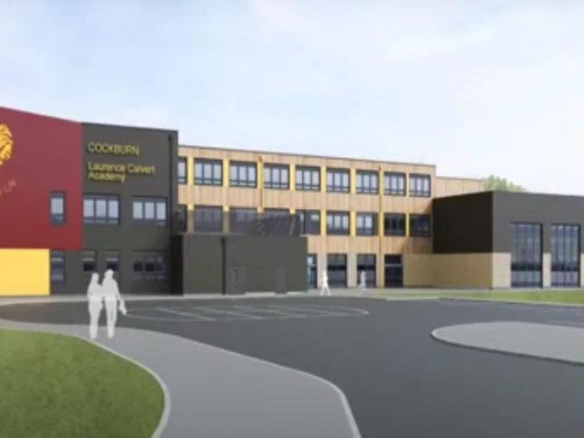 An artist's impression of the school shown at the meeting.