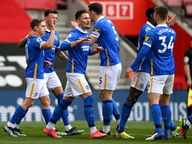 Brighton celebrate in the Premier League. Pic: Getty