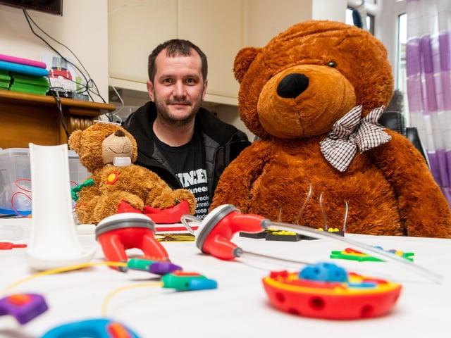 Nick Hardman with his teddy bear creations (photos: James Hardisty).