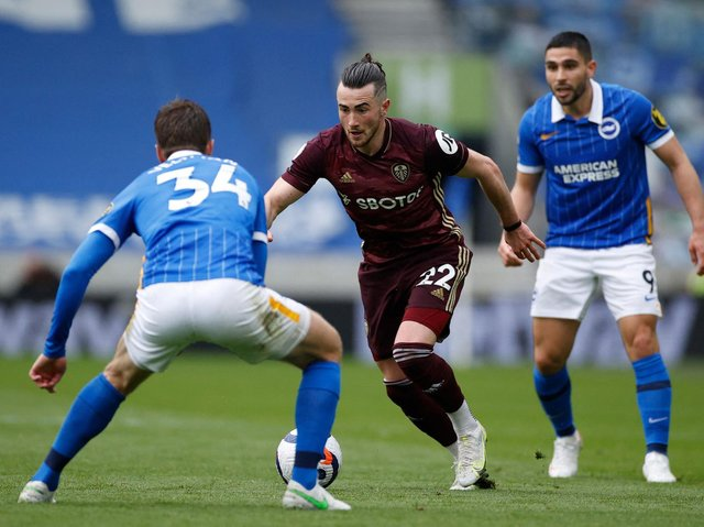 Leeds United winger Jack Harrison in action at Brighton. Pic: Getty