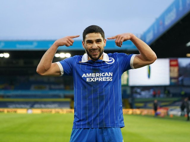 ME AGAIN: Brighton's Neal Maupay, who scored the only goal in January's 1-0 win at Elland Road, above, is again favourite to score first in Saturday's reverse fixture against Leeds United at the Amex. Photo by JON SUPER/POOL/AFP via Getty Images.