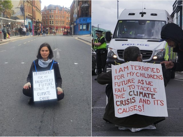 Extinction Rebellion protesters block roads in Leeds.