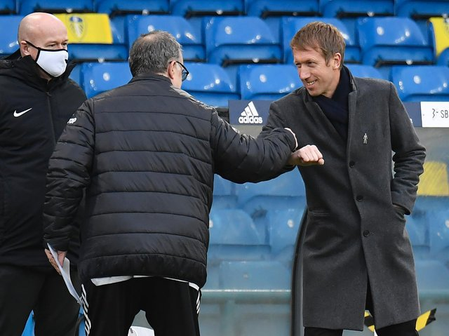 TOP LEVEL - Brighton manager Graham Potter says Leeds United head coach Marcelo Bielsa is one of the bosses he and many others look up to in the game. Pic: Getty