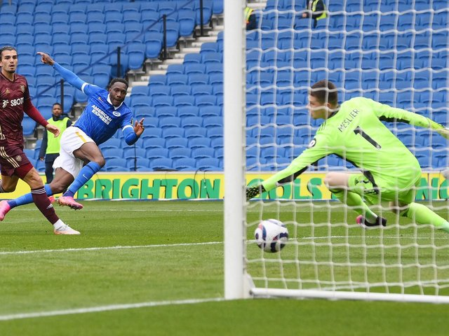 ALL OVER: Danny Welbeck doubles Brighton's lead. Photo by MIKE HEWITT/POOL/AFP via Getty Images.