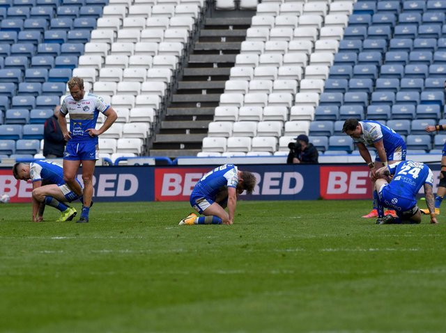 Rhinos' defeat at Giants was tough to take. Picture by Simon Hulme.