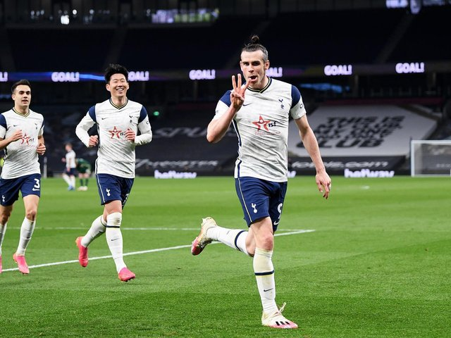THRIVING: Tottenham's Gareth Bale celebrates completing his hat-trick in Sunday night's 4-0 blitz of Sheffield United. Photo by Shaun Botterill/Getty Images.