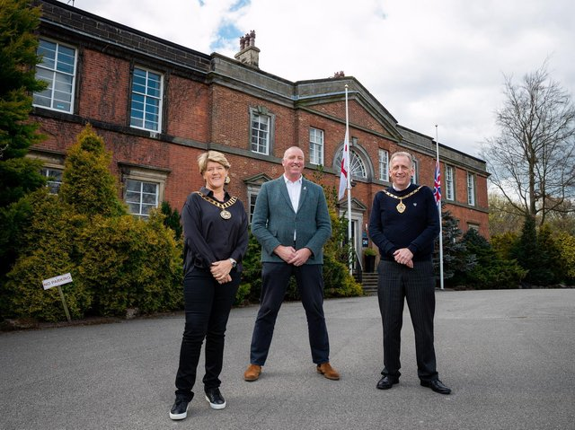 RFL chief executive Ralph Rimmer with the sport's president Clare Balding and vice-president Mike Smith at Red Hall. Picture by RFL.