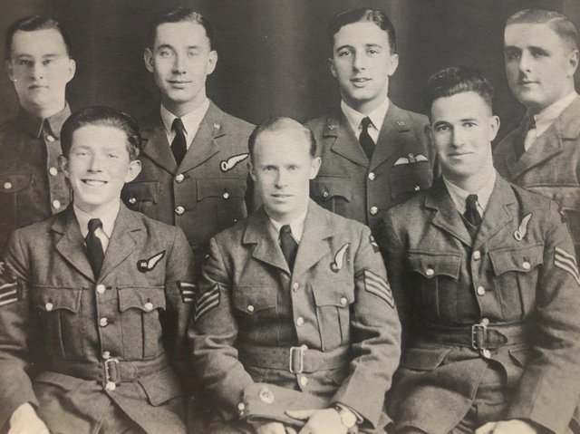 Flight Sergeant Albert Heptonstall is pictured (back row far left) with fellow crew members of Halifax bomber BB244.