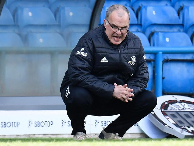STRIVING FOR MORE: Leeds United head coach Marcelo Bielsa. Photo by PETER POWELL/POOL/AFP via Getty Images.