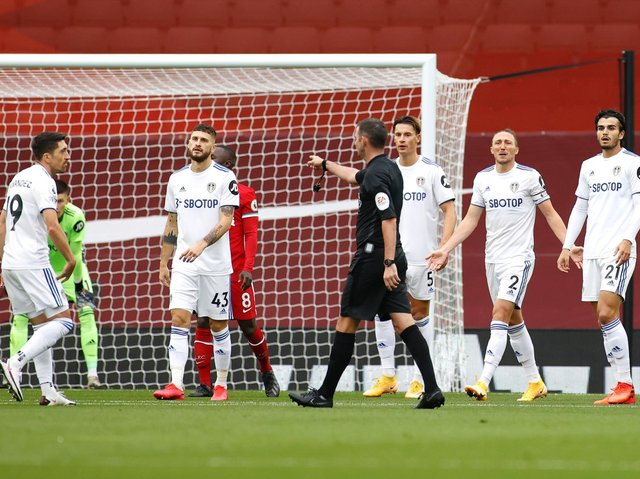 EVENTFUL OPENER - Leeds United had two penalties awarded against them at Liverpool on the first day of the season, with Michael Oliver as referee and Paul Tierney as VAR. The duo take the same roles for the visit to Elland Road of Spurs on Saturday. Pic: Getty