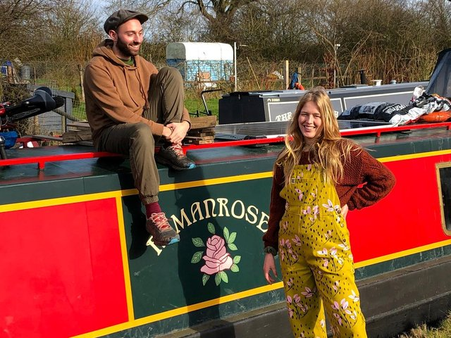 Former Leeds students Adam Lind, 28, and Lauren Coley, 28, moved into a houseboat in 2020.
