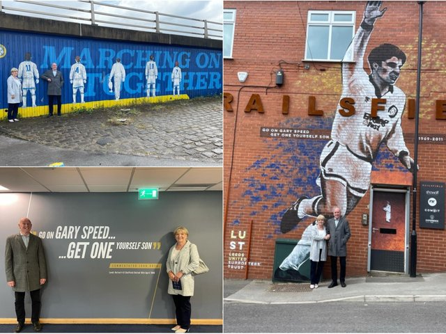 Leeds United Supporters' Trust welcomed Roger and Carol Speed to visit the mural which was commissioned by Bramley based business Showoff Design and Display.