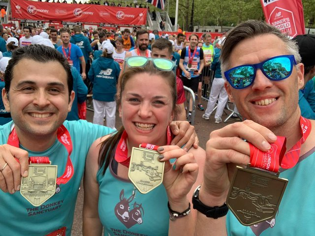 Runners who competed for the Donkey Sanctuary at a previous London Marathon.