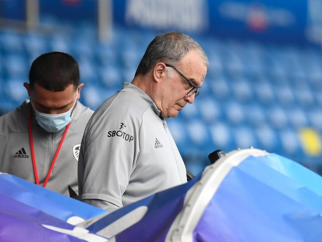 DECISONS: Whites head coach Marcelo Bielsa, above, has plenty to ponder with captain Liam Cooper back from suspension but Kalvin Phillips and Raphinha facing fitness battles. Photo by Peter Powell - Pool/Getty Images.
