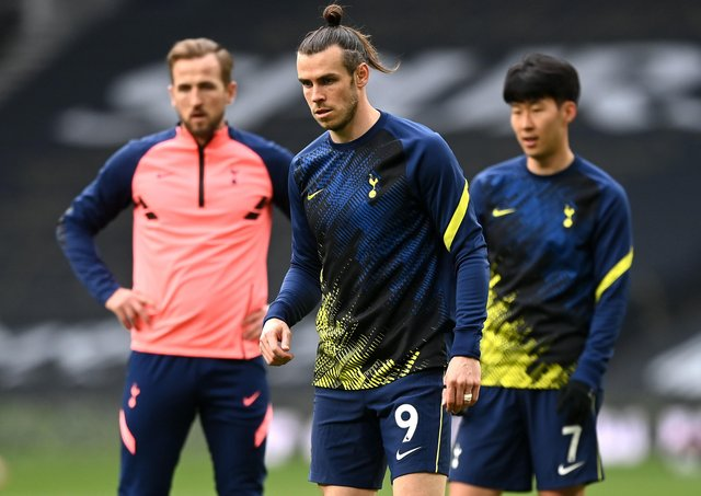 Tottenham Hotspur's potentially devastating three-pronged attack of, from left Harry Kane, Gareth Bale and Son Heung-min. Picture: Shaun Botterill/PA Wire.