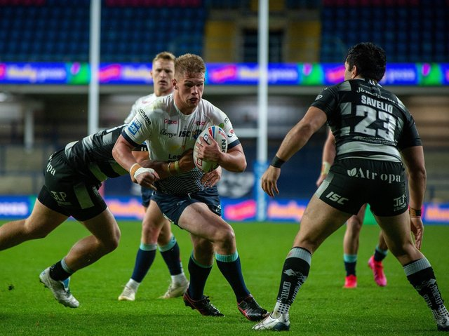 Tom Holroyd on the charge for Rhinos against Hull last season. Picture by Bruce Rollinson.
