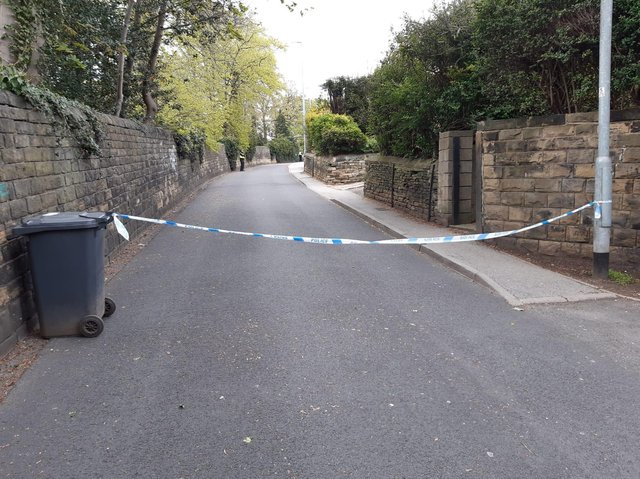 The police cordon viewed from St Anne's Lane