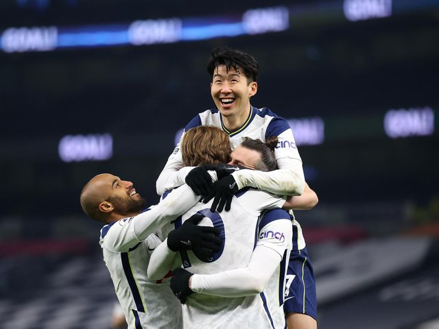 THREATS: Gareth Bale, middle, celebrates with Harry Kane, bottom, Lucas Moura, left, and Son Heung-Min, top, after scoring Tottenham's second goal in March's 4-1 victory at home to Crystal Palace. Photo by Julian Finney/Getty Images.
