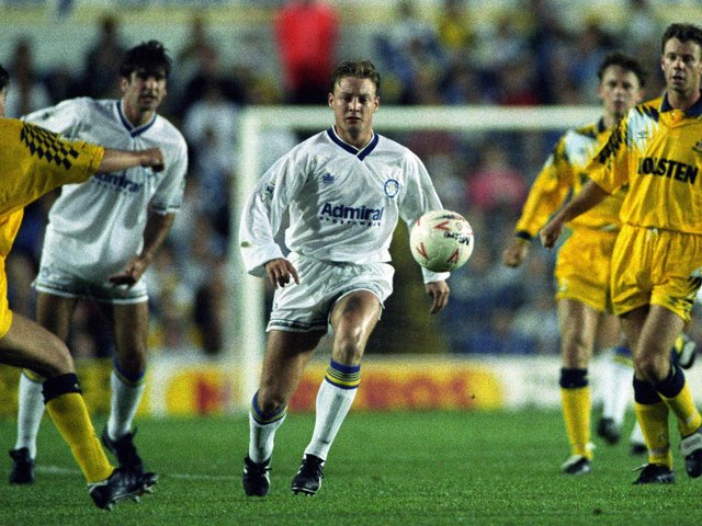 HEADACHES: Leeds United duo David Batty, centre, and hat-trick hero Eric Cantona, left, caused Tottenham chaos at Elland Road back in August 1992. Picture by Varleys.
