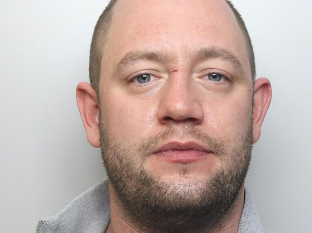 Jamie Belk was jailed for 28 months for assaulting his partner and causing £6,000 worth of damage at her home.