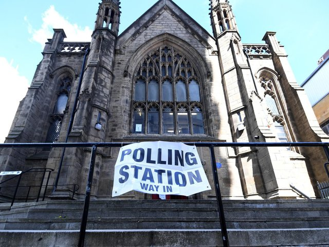 The polling station at Mill Hill Unitarian  Chapel , City Square, Leeds.