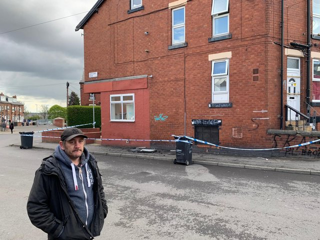 Lee Westerman outside the property in Beeston.
