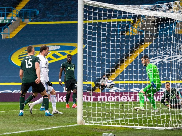BIG MOMENT - Patrick Bamford finished off a fine move to score for Leeds United against Tottenham Hotspur. Pic: Bruce Rollinson.