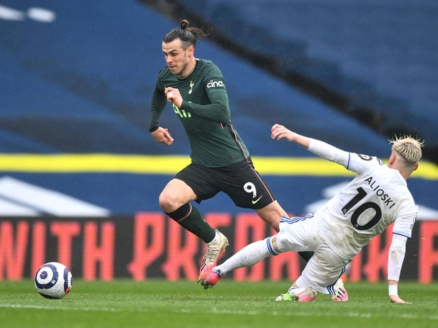NUISANCE: Tottenham's Gareth Bale gets away from Leeds United man marker Gjanni Alioski, but not for long. Photo by MICHAEL REGAN/POOL/AFP via Getty Images.