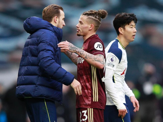 KEY MEN: Leeds United's England international midfielder Kalvin Phillips, centre, with Tottenham's Harry Kane, left, and Son Heung-Min, right, after January's 3-0 defeat in north London. Photo by IAN WALTON/POOL/AFP via Getty Images.