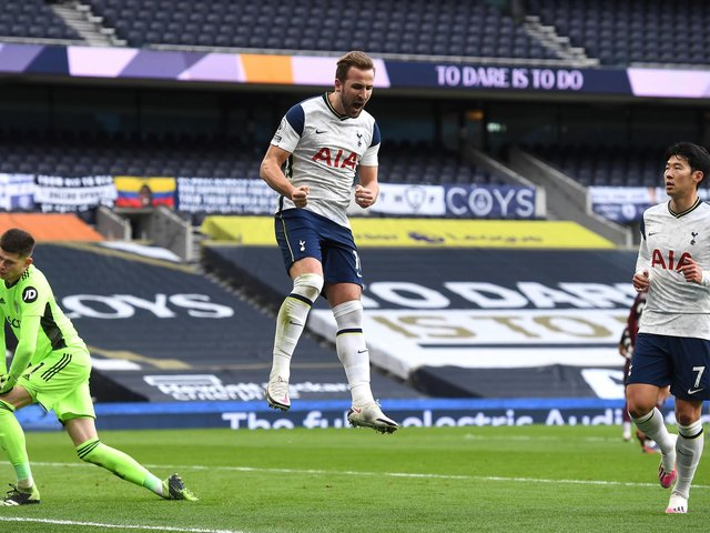 CONSISTENT: Tottenham Hotspur striker and England captain Harry Kane, pictured celebrating the opening goal of the game against Leeds United from the penalty spot in January's clash in London. Photo by Andy Rain - Pool/Getty Images.