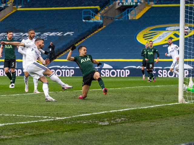 OPENER: Stuart Dallas fires Leeds United in front against Tottenham Hotspur. Picture by Bruce Rollinson.