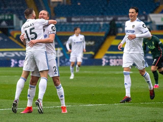 Leeds United celebrate Stuart Dallas' opener against Tottenham Hotspur. Pic: Bruce Rollinson