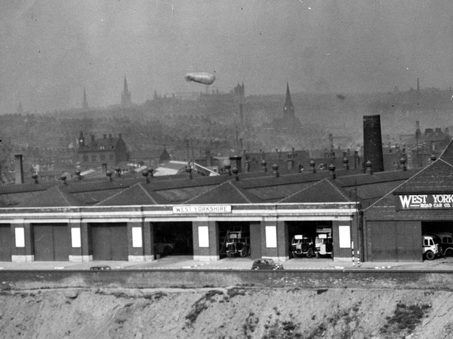 The escaped barrage balloon is pictured drifting over the West Yorkshire Bus Depot on Roseville Road.