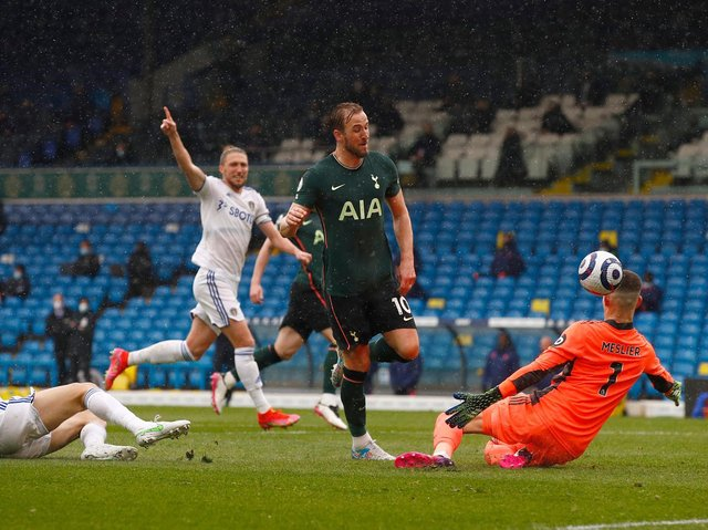 Tottenham Hotspur striker Harry Kane scores an offside goal at Elland Road. Pic: Getty