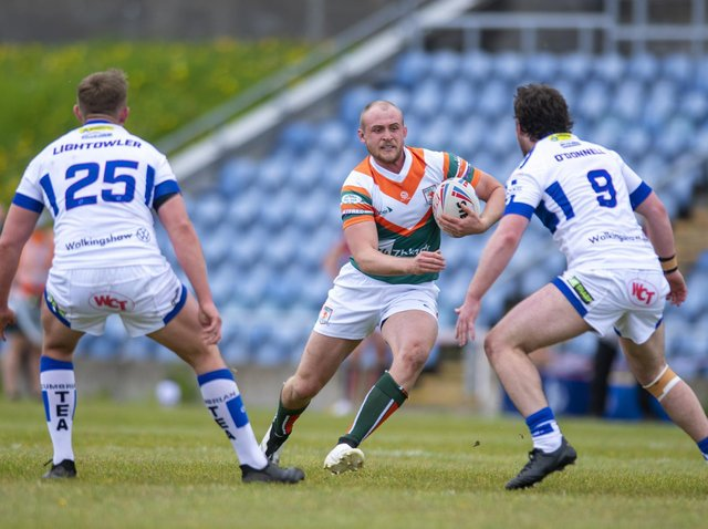 Brad Hey made his competitive debut for Hunslet against Workington. Picture by Tony Johnson.