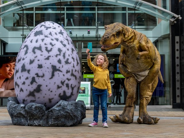 Five-year-old Agnes Gacquin meets one of the dinosaurs. PIC: James Hardisty