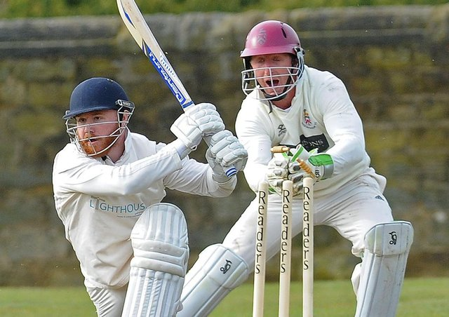 STUMPED: Beckwithshaw wicketkeeper Callum Irvine stumps Otley batsman Sam Kellett for five runs off the bowling of Oliver Hebblethwaite. Picture: Steve Riding.