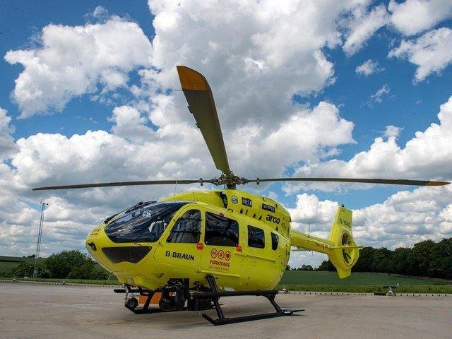 The air ambulance was called to the scene of the crash on the M62 near Rothwell.