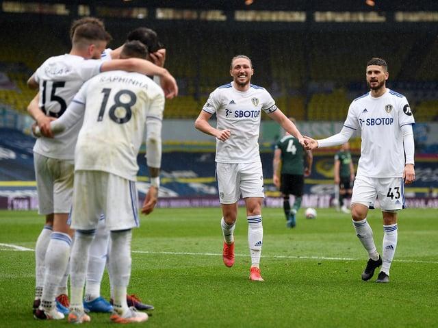 Leeds United celebrate against Tottenham Hotspur at Elland Road. Pic: Getty