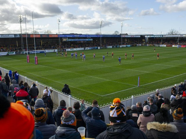 Tigers have not played in front of a crowd since this game against St Helens in March, 2020. Picture by Tony Johnson.