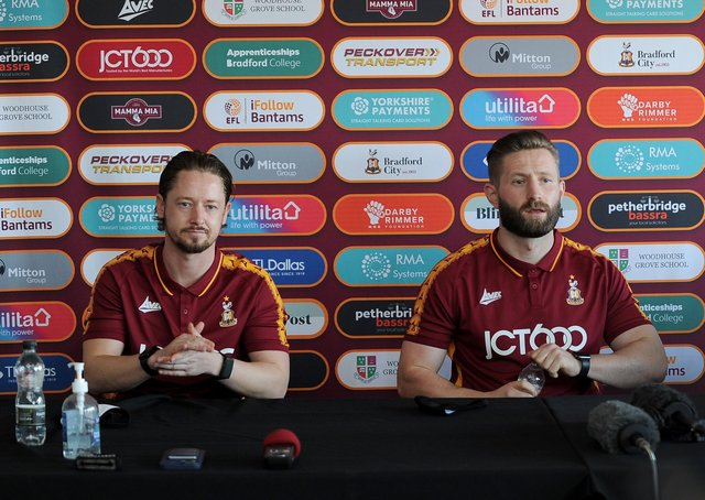Gone: Bradford City have sacked joint managers Conor Sellars (left) and Mark Trueman. Picture by Simon Hulme