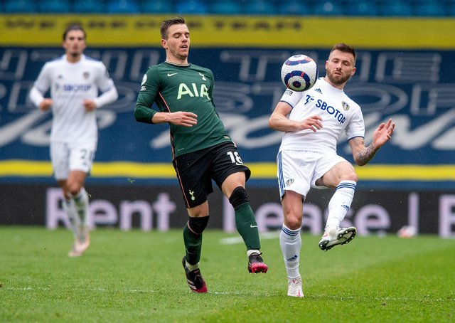 Stuart Dallas clears from Giovani Lo Ceslo as Leeds United defeated Tottenham Hotspur. (Picture: Bruce Rollinson)