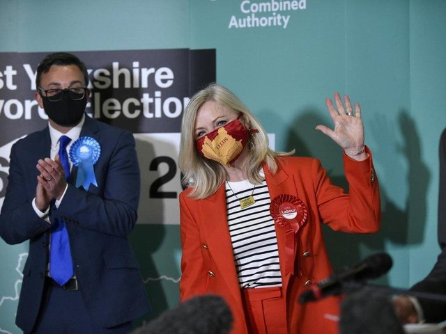 Tracy Brabin gets the news she will be the new Mayor of West Yorkshire (photo: Steve Riding)