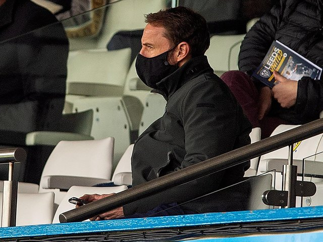 DECISIONS: England boss Gareth Southgate looks on from the Elland Road stands as Leeds United record a 3-1 victory against Tottenham in which Patrick Bamford bagged his 15th goal of the campaign. Picture by Bruce Rollinson.