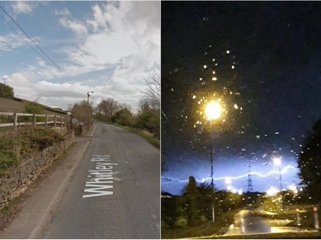 The garage was set on fire after being struck by lightening in Whitley Road, Dewsbury. Photo: Google and WY Police Dogs.