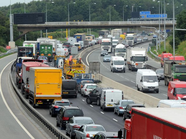 The M62 is closed in both directions due to an ongoing police incident.