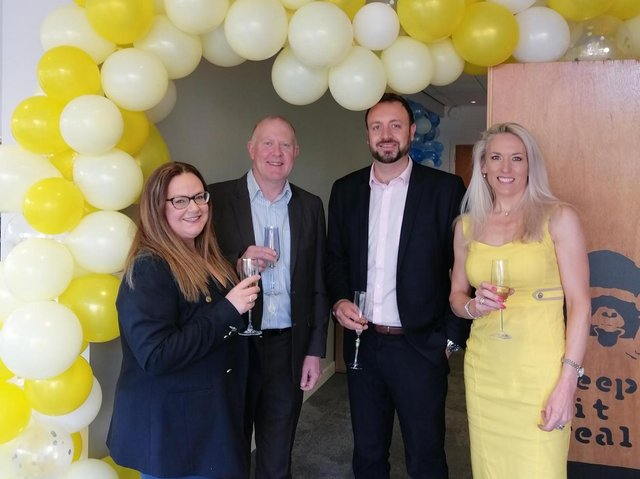 Helen Mercer-Jones with Claire Lowcock, ERE Commercial Director, Tim Morgan, ERE CEO and Co-Founder, and Chris Stone, ERE Lettings Director, at the new ERE Property Leeds office this week.